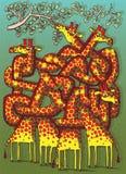 Gioco del labirinto delle giraffe Fotografia Stock Libera da Diritti