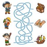 Gioco del labirinto per i bambini Caratteri ed elementi del pirata royalty illustrazione gratis