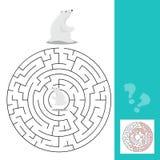 Gioco del labirinto per i bambini con gli orsi polari Fotografia Stock