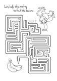Gioco del labirinto per i bambini con la scimmia e la banana Immagini Stock Libere da Diritti