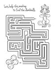 Gioco del labirinto per i bambini con la scimmia e le teste di legno Immagine Stock Libera da Diritti