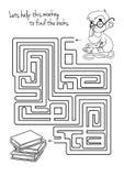 Gioco del labirinto per i bambini con la scimmia ed i libri Immagini Stock Libere da Diritti