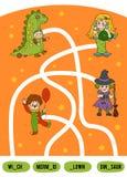 Gioco del labirinto per i bambini Insieme dei caratteri di Halloween illustrazione di stock