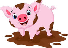 Gioco del maiale del fumetto in una pozza di fango Fotografia Stock
