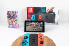 Gioco del Mario Kart Deluxe 8 in commutatore di Nintendo fotografie stock libere da diritti