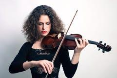 Gioco del musicista del violinista del violino Fotografie Stock Libere da Diritti
