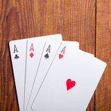 Gioco del poker dell'annata di quattro assi Fotografia Stock Libera da Diritti