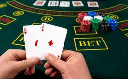Gioco del poker Schede Fotografie Stock