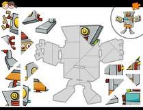 Gioco del puzzle con il robot illustrazione vettoriale