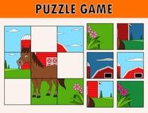Gioco del puzzle con l'animale sveglio del cavallo royalty illustrazione gratis