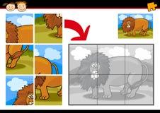 Gioco del puzzle del leone del fumetto Fotografia Stock Libera da Diritti