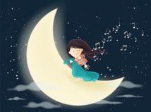 Gioco del violino sulla luna nella notte con molte stelle Immagine Stock