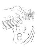 Gioco della chitarra elettrica Fotografie Stock Libere da Diritti