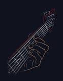 Gioco della corda della chitarra Fotografia Stock