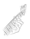 Gioco della corda della chitarra Fotografie Stock