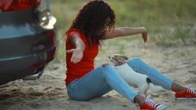 Gioco della donna con il suo cane che si siede vicino all'automobile stock footage