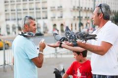 Gioco della gente con il piccione in atene Immagini Stock Libere da Diritti