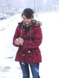 Gioco della palla di neve Immagini Stock
