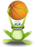Gioco della pallacanestro con la rana illustrazione di stock