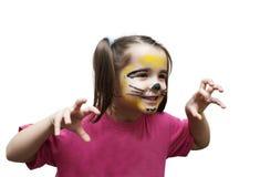 Gioco della ragazza nella maschera del gatto Fotografia Stock
