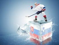 Gioco della Slovenia - della Slovacchia. Giocatore di hockey Spunky sul cubetto di ghiaccio fotografie stock libere da diritti