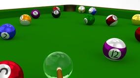 8 gioco dello stagno 3D della palla nel gioco sulla Tabella verde Fotografia Stock Libera da Diritti