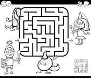 Gioco di attività del labirinto con i caratteri di fantasia royalty illustrazione gratis