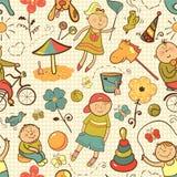 Gioco di bambini con i giocattoli Immagini Stock