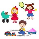 Gioco di bambini con i giocattoli Fotografia Stock