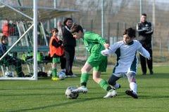 Gioco di calcio di Airnergy - di Rakoczi U13 Fotografia Stock