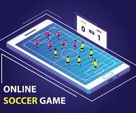 Gioco di calcio online dove il giocatore sta giocando a calcio online royalty illustrazione gratis