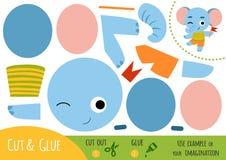 Gioco di carta per i bambini, elefante di istruzione illustrazione vettoriale