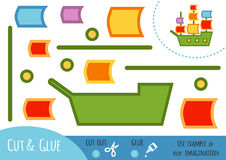 Gioco di carta per i bambini, nave di istruzione di navigazione illustrazione di stock