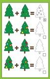 Gioco di conteggio educativo per i bambini, foglio di lavoro dell'aggiunta, tema di per la matematica di natale illustrazione vettoriale