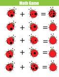Gioco di conteggio educativo per i bambini, foglio di lavoro di per la matematica dell'aggiunta Calcoli i punti della coccinella illustrazione di stock