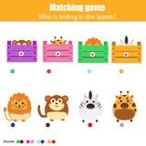 Gioco di corrispondenza di istruzione dei bambini, attività dei bambini Animali della partita con la scatola illustrazione vettoriale