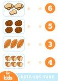 Gioco di corrispondenza di istruzione Conti quanti oggetti e scegliere il numero corretto Insieme del pane illustrazione vettoriale