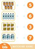Gioco di corrispondenza di istruzione Conti quanti oggetti e scegliere il numero corretto Insieme della bevanda royalty illustrazione gratis