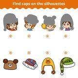 Gioco di corrispondenza per i bambini Abbini i cappelli dalla siluetta illustrazione di stock