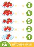 Gioco di corrispondenza per i bambini Conti quante mele e scegliere il numero corretto royalty illustrazione gratis