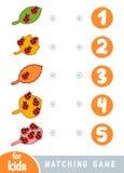 Gioco di corrispondenza per i bambini Conti quanti insetti e scegliere il numero corretto illustrazione vettoriale