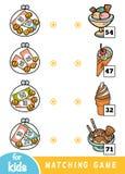 Gioco di corrispondenza per i bambini Conti quanto i soldi sono in ogni portafoglio e scelga il prezzo corretto Il gelato ha mess illustrazione di stock