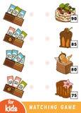 Gioco di corrispondenza per i bambini Conti quanto i soldi sono in ogni portafoglio e scelga il prezzo corretto Un insieme dei de royalty illustrazione gratis