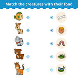 Gioco di corrispondenza per i bambini, gli animali e l'alimento favorito Fotografia Stock