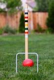 Gioco di croquet in cortile posteriore immagini stock libere da diritti