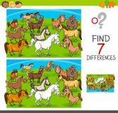 Gioco di differenze del ritrovamento con i caratteri dell'animale dei cavalli Fotografia Stock
