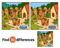 Gioco di differenze del ritrovamento per i bambini (cane) Fotografie Stock Libere da Diritti