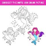 Gioco di divertimento per i bambini Colleghi i punti e l'immagine a colori Illustrazione del fumetto di vettore Sirena e unicorno illustrazione di stock