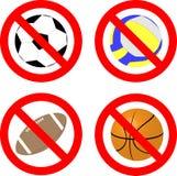 Gioco di divieto con l'insieme dell'icona della palla Immagine Stock Libera da Diritti