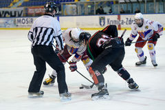 Gioco di hockey duro Fotografia Stock